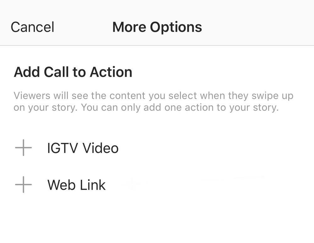 Добавьте призыв к действию IGTV Video или веб-ссылку