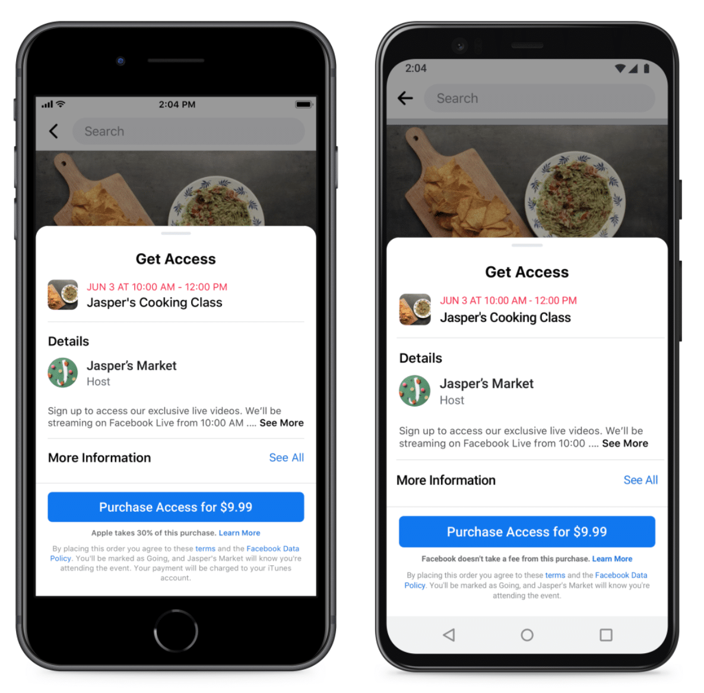 Страница онлайн-мероприятий Facebook Jasper's Cooking Class