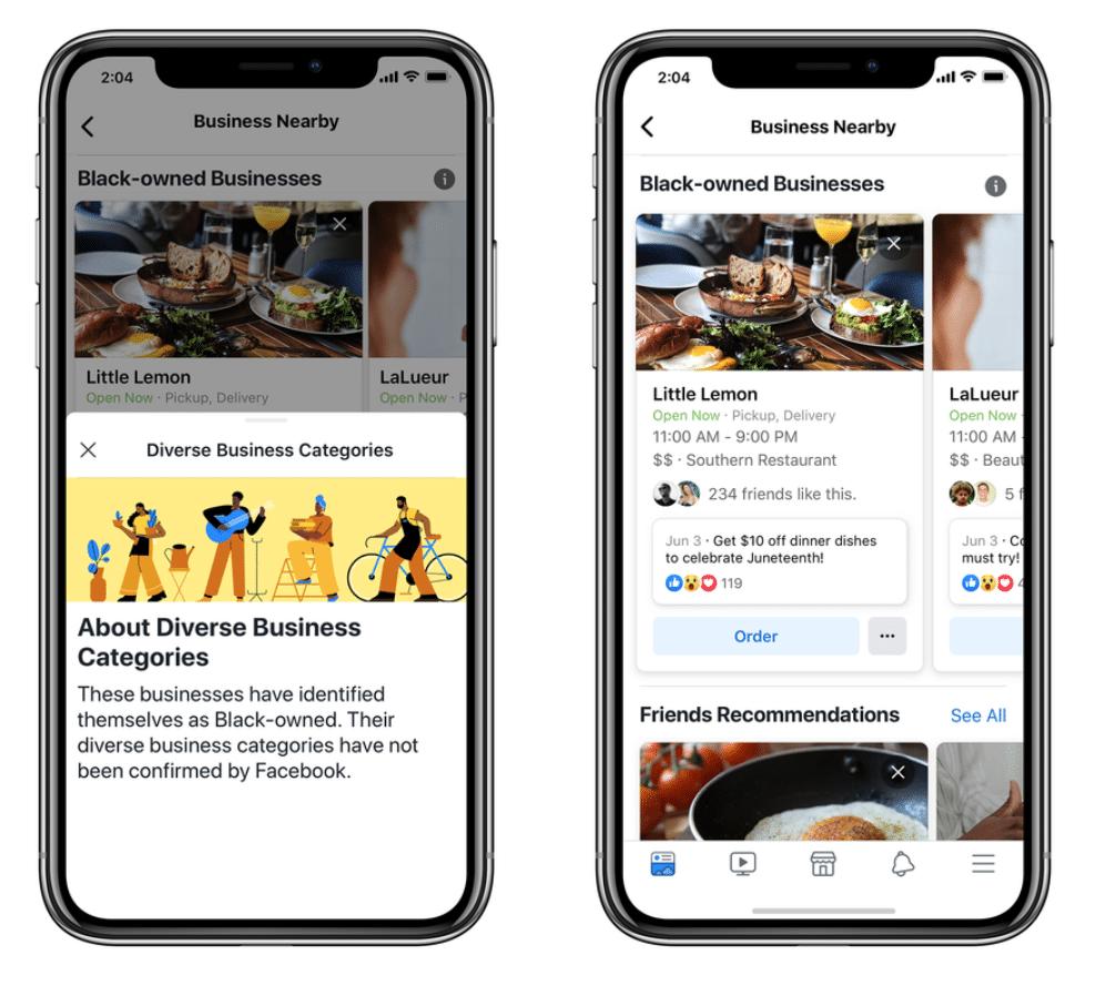 Бизнес-страницы Facebook, принадлежащие разным категориям