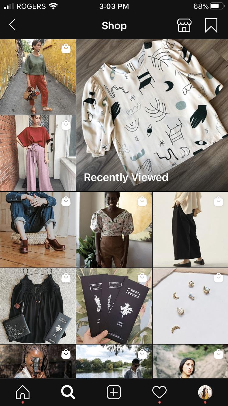 """Страница магазина Instagram, показывающая """"недавно просмотренные"""" товары"""