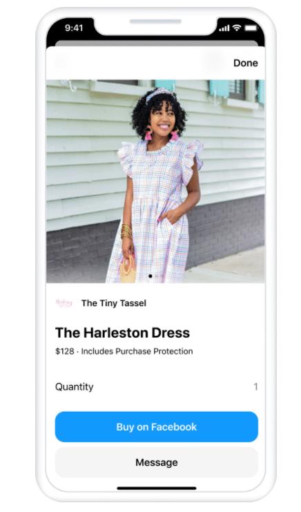 Сообщение в Facebook о платье с возможностью покупки на Facebook