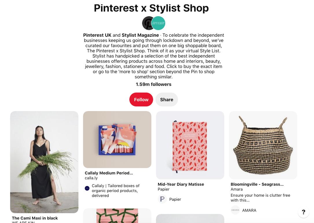 Магазин Pinterest x Stylist Magazine