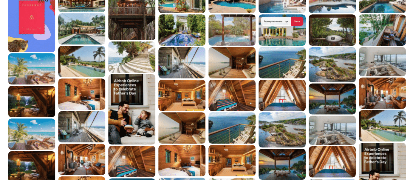 Airbnb публикует фотографии в ленте Pinterest