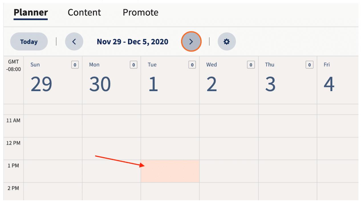 Выберите, когда публиковать сообщение во всех социальных сетях в планировщике Hootsuite