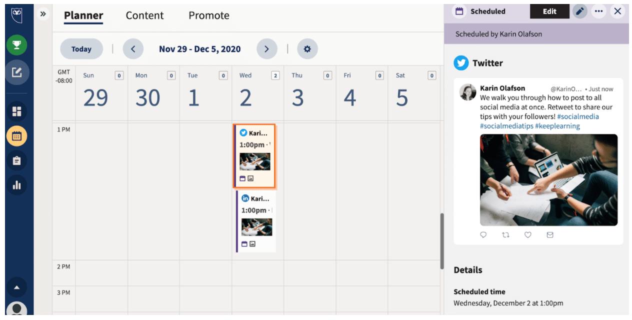 Нажмите на расписание, чтобы увидеть запланированные публикации в Planner