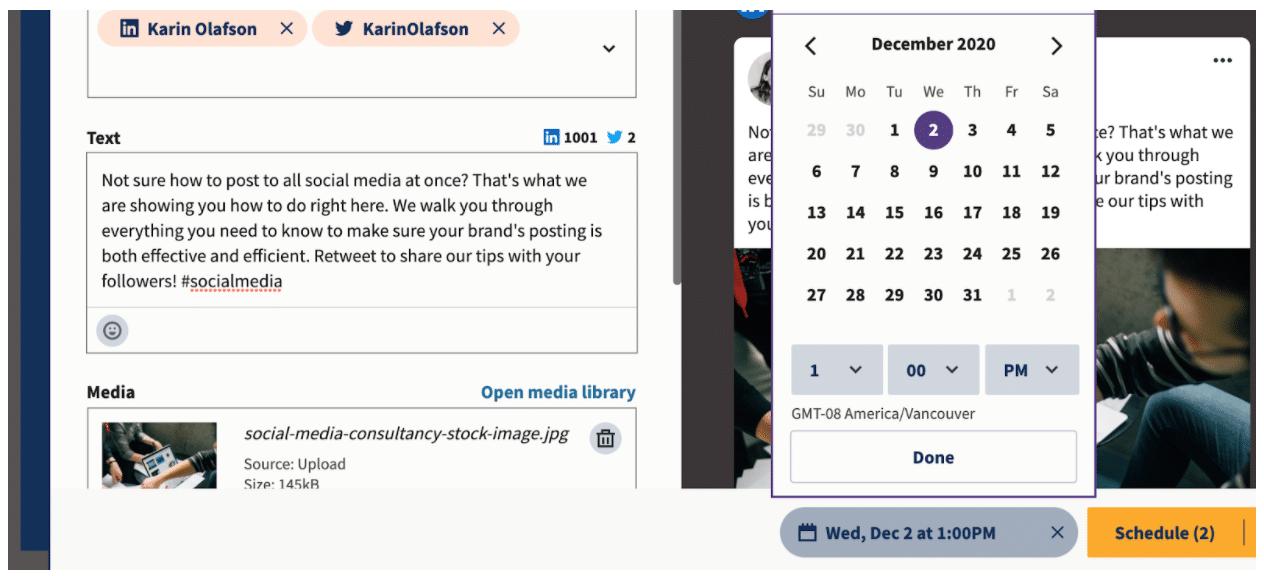 Выберите дату и время публикации на Планировщик Hootsuite