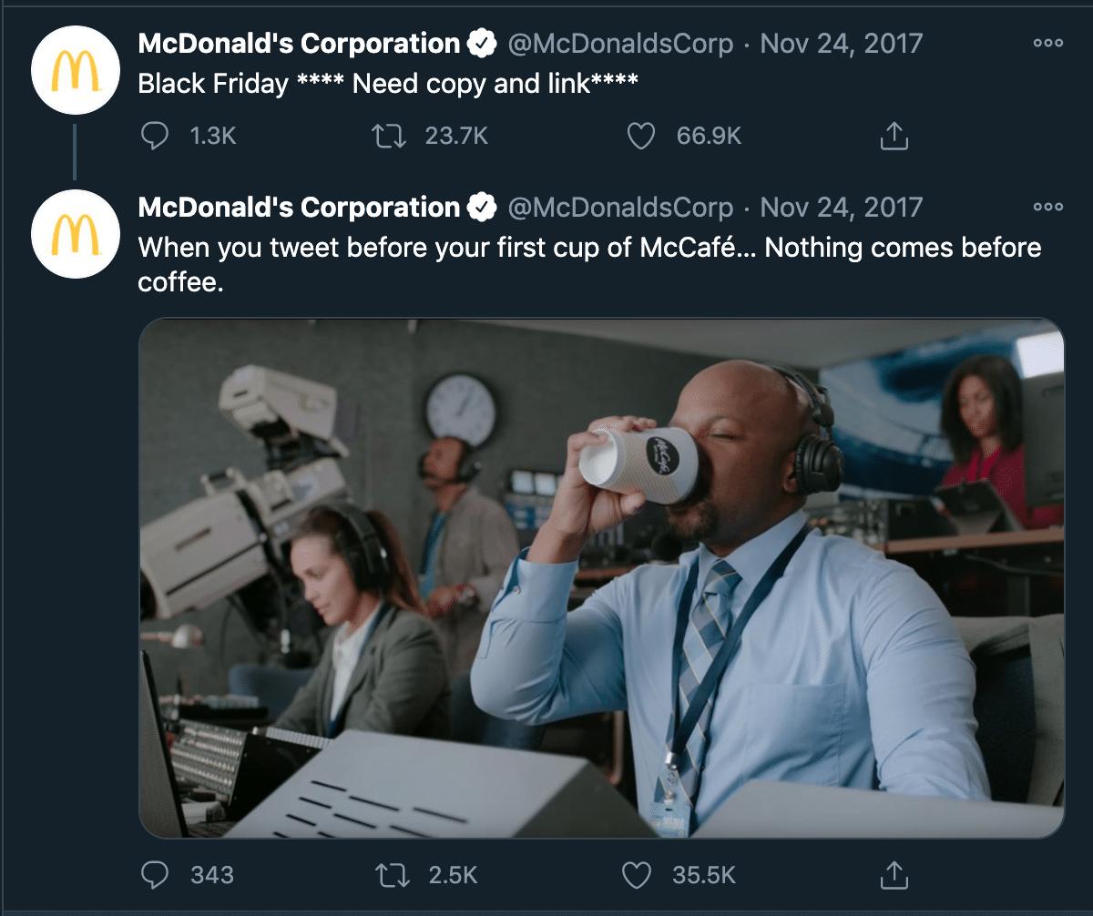 Пример автоматизации социальных сетей McDonald