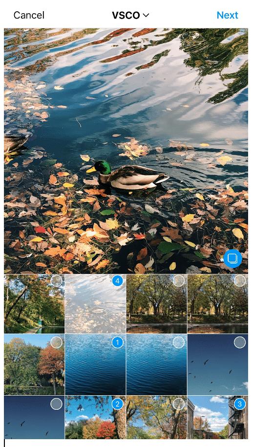 Выберите до 10 фотографий или видео в порядке их появления