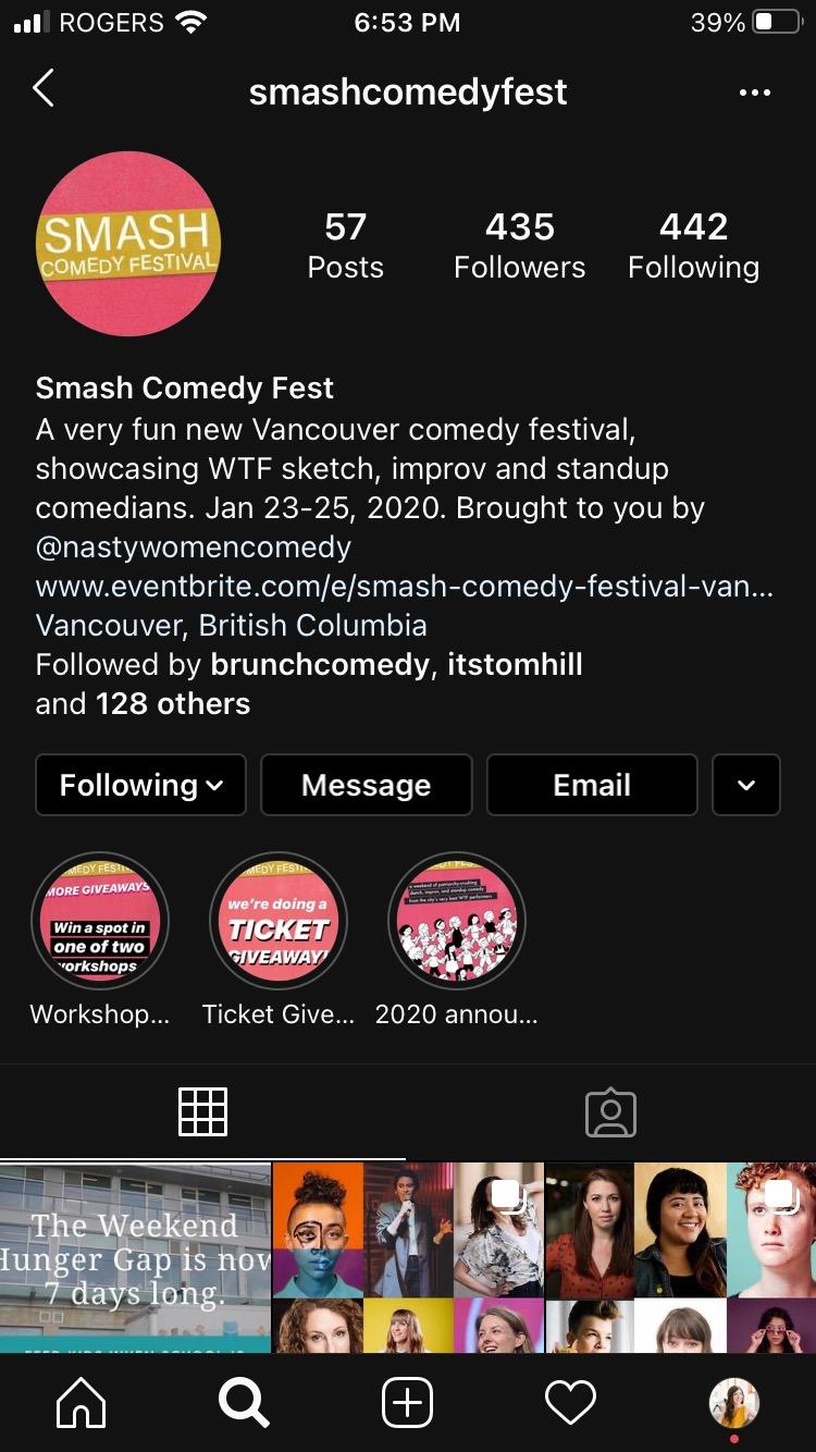 Домашняя страница аккаунта Smash Comedy Fest