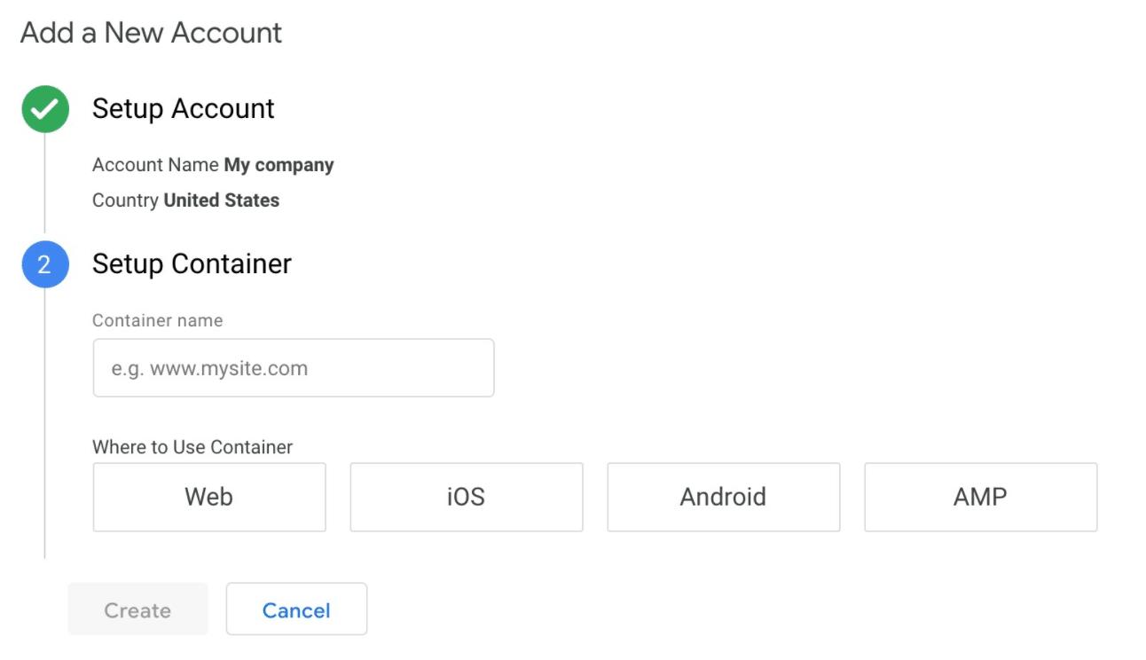 Контейнер установки Диспетчера тегов Google