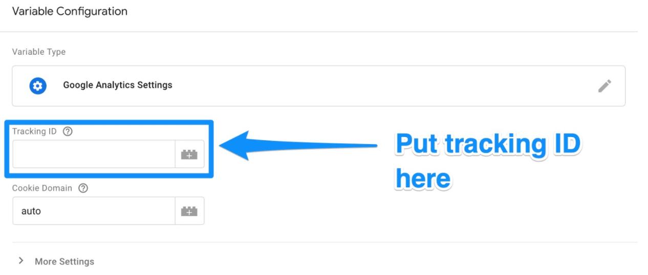 Введите идентификатор отслеживания Google Analytics