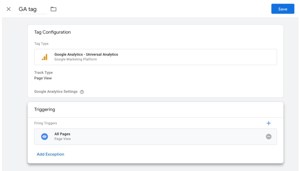 Последняя страница тега Google Analytics