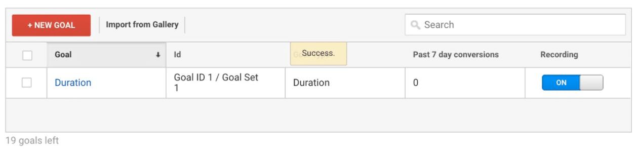 Сохранить цель в Google Analytics