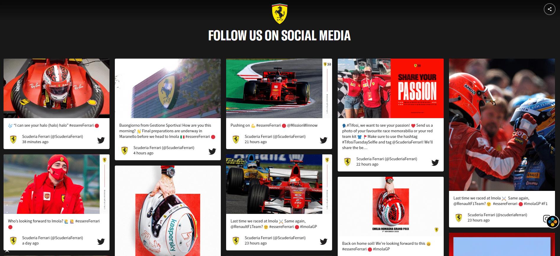 добавлять сообщения в социальных сетях на веб-сайт Ferrari