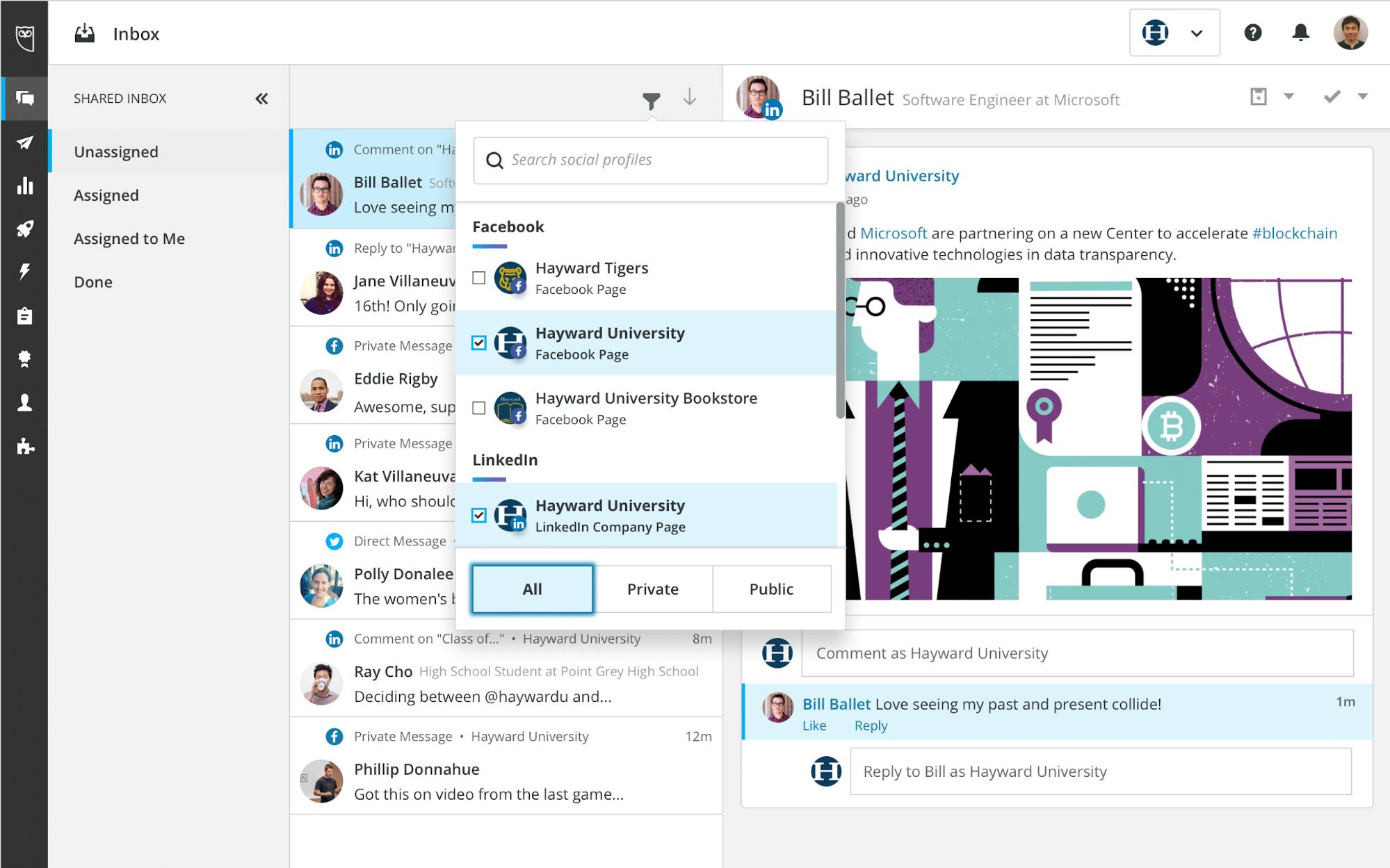 Запросы в службу поддержки клиентов Hootsuite Inbox