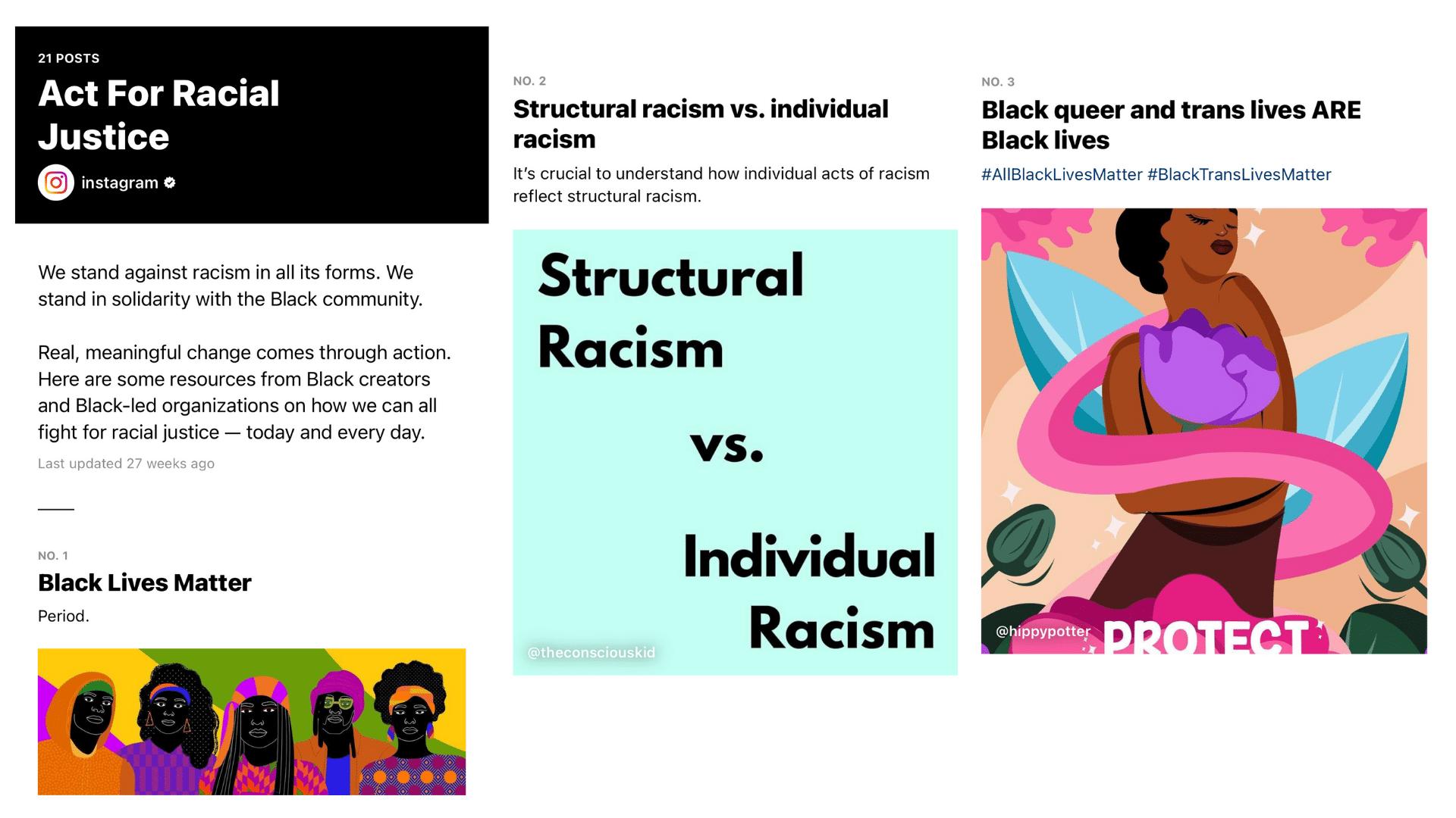 продвигает такие причины, как расовая справедливость