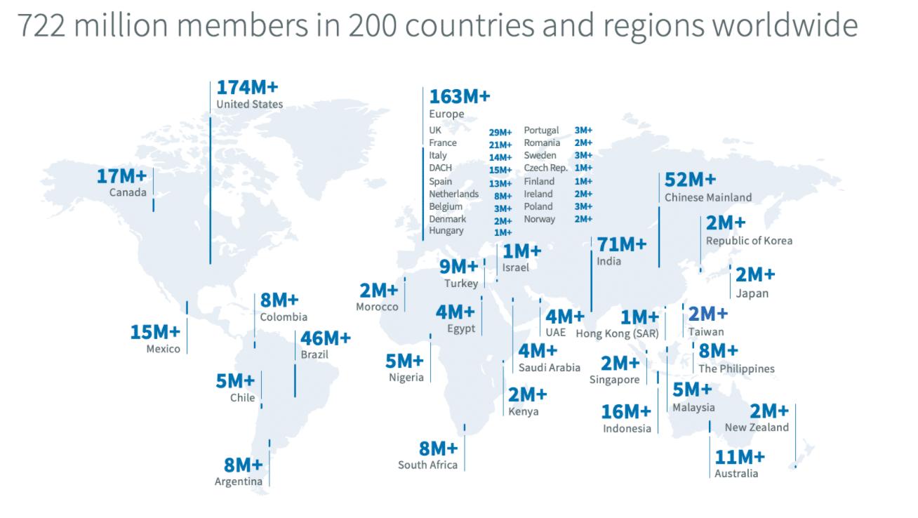 Географические демографические данные LinkedIn