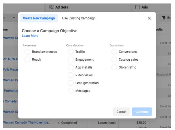 Менеджер по созданию рекламы создать новую кампанию