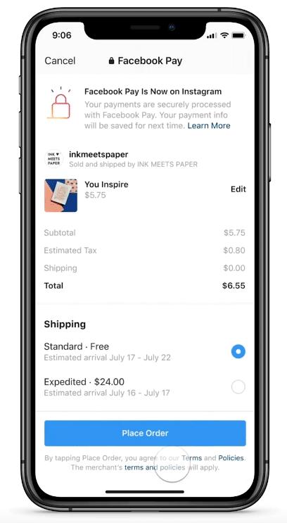 Опция оплаты Facebook Pay