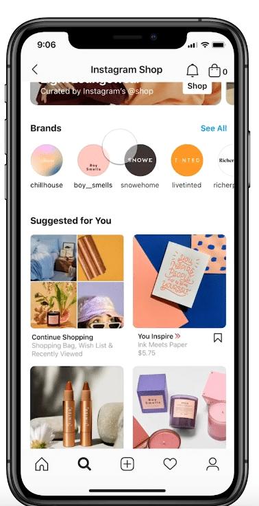 Вкладка открытия магазина Instagram