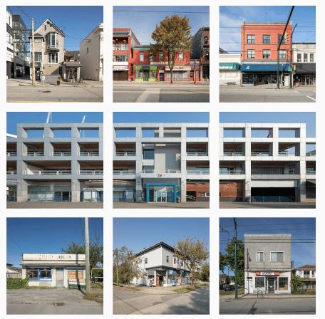 различные здания в виде сетки