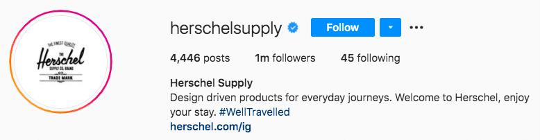 Фирменный хештег Herschel Supply