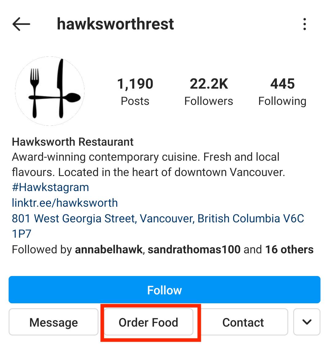 Кнопка заказа еды в ресторане Hawksworth