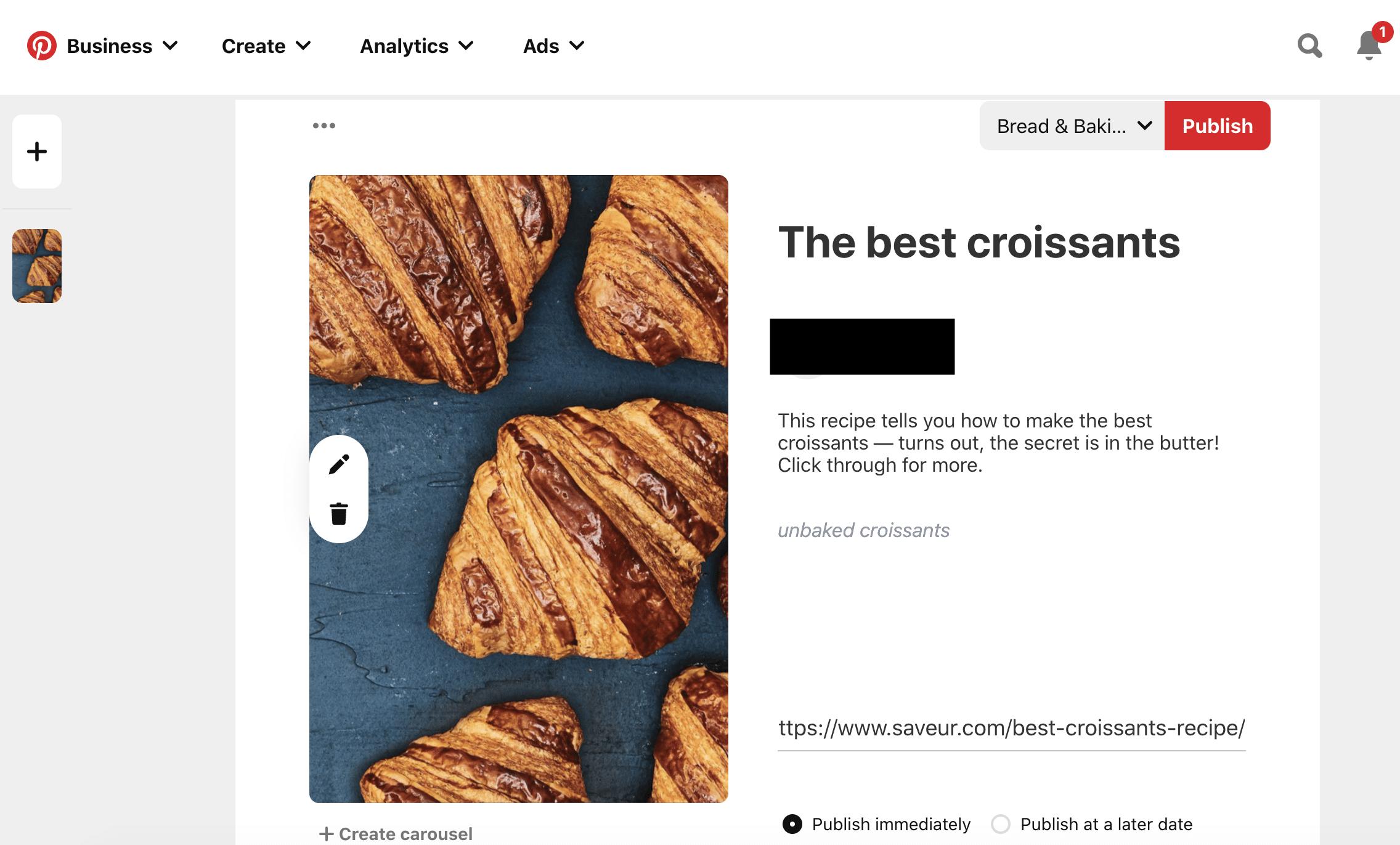 Доска для хлеба и выпечки круассанов