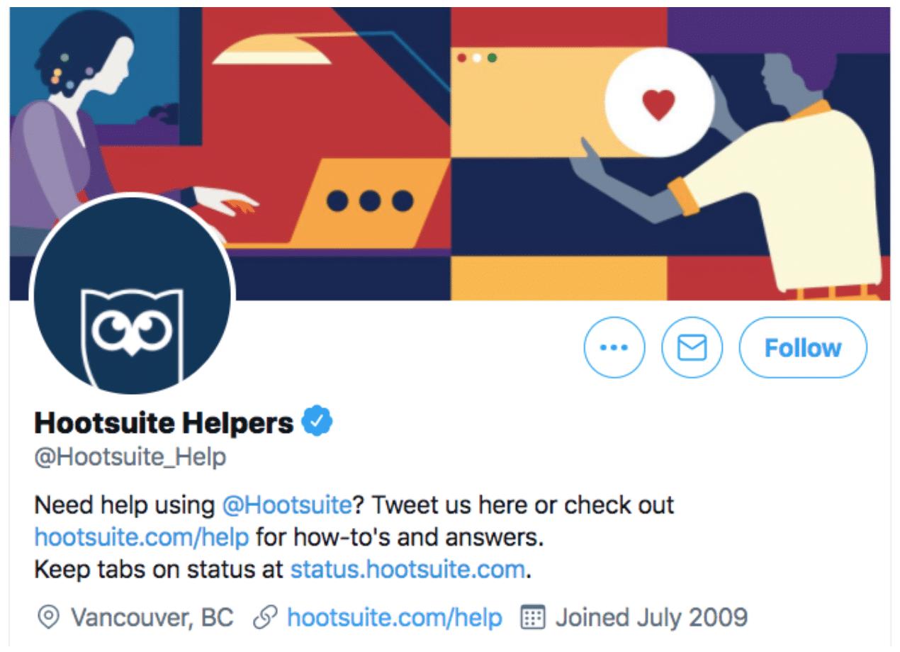 Страница справки Hootsuite в Twitter