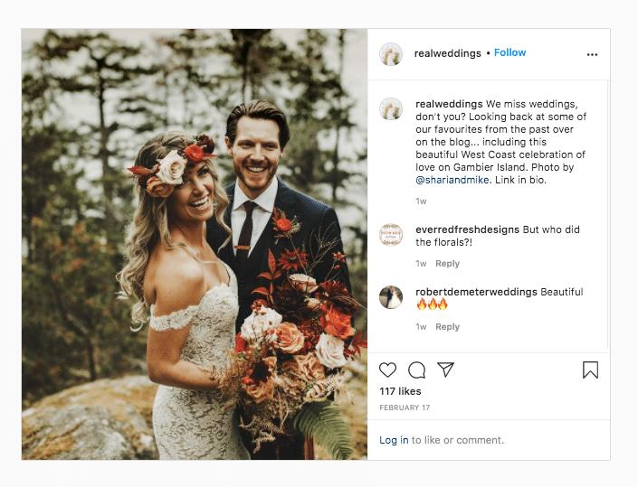 Настоящая свадьба, фото пары со ссылкой на букет в биографии
