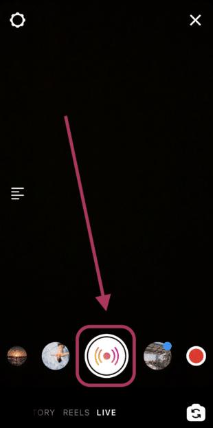 Нажмите значок записи в мобильном приложении Instagram, чтобы начать прямую трансляцию в Instagram