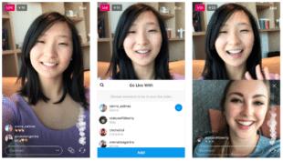 3 кадра из прямой трансляции влиятельного лица, демонстрирующих ее лицо на экране