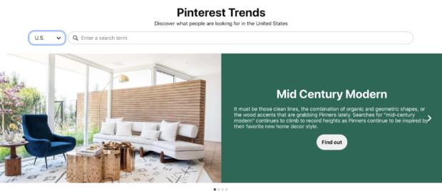 Страница тенденций Pinterest для