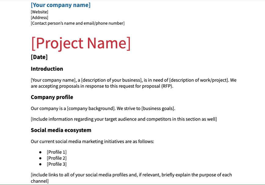 Шаблон RFP для социальных сетей с названием компании и проекта
