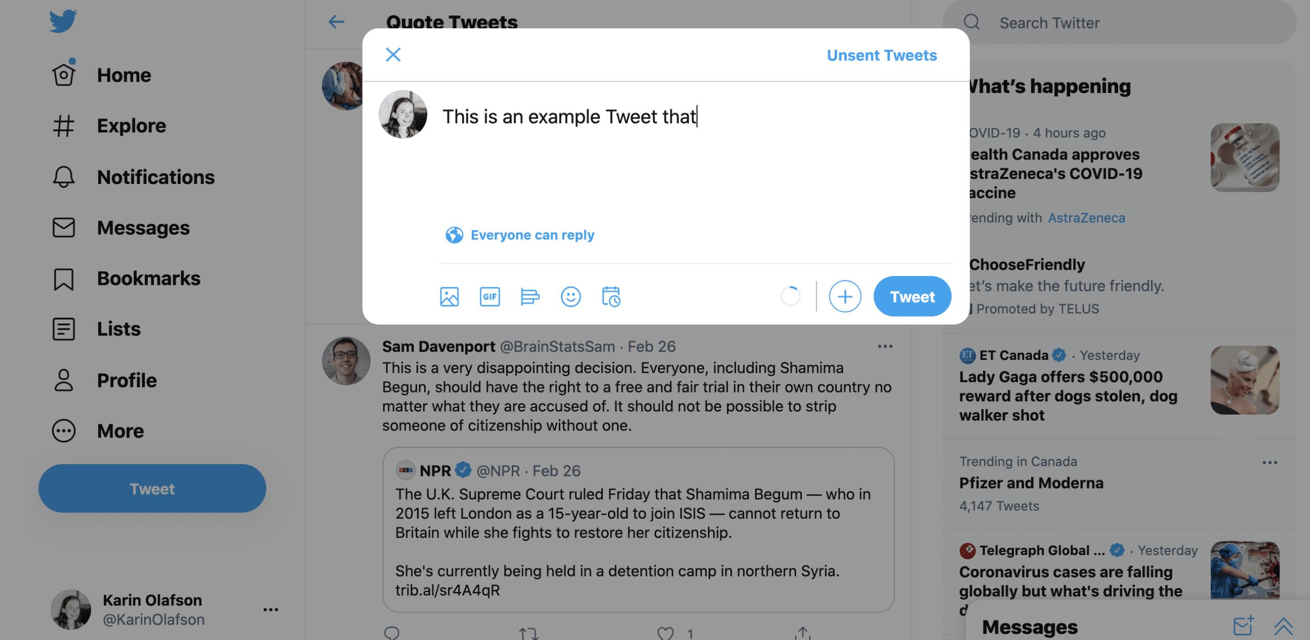 пример окна композитора твита