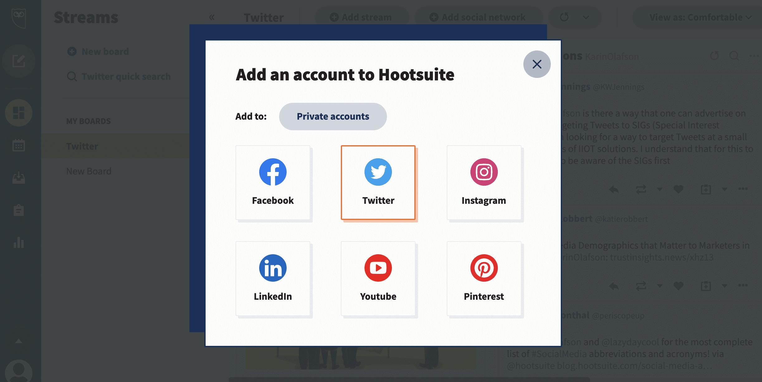 добавьте учетную запись Twitter в Hootsuite