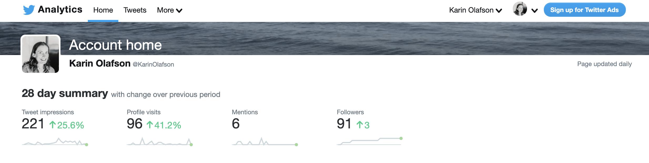 Целевая страница Twitter Analytics