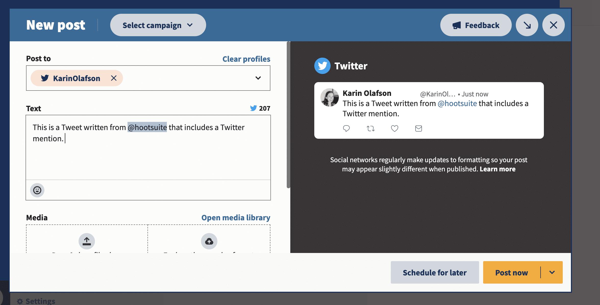 включать упоминания при написании твитов. на Hootsuite