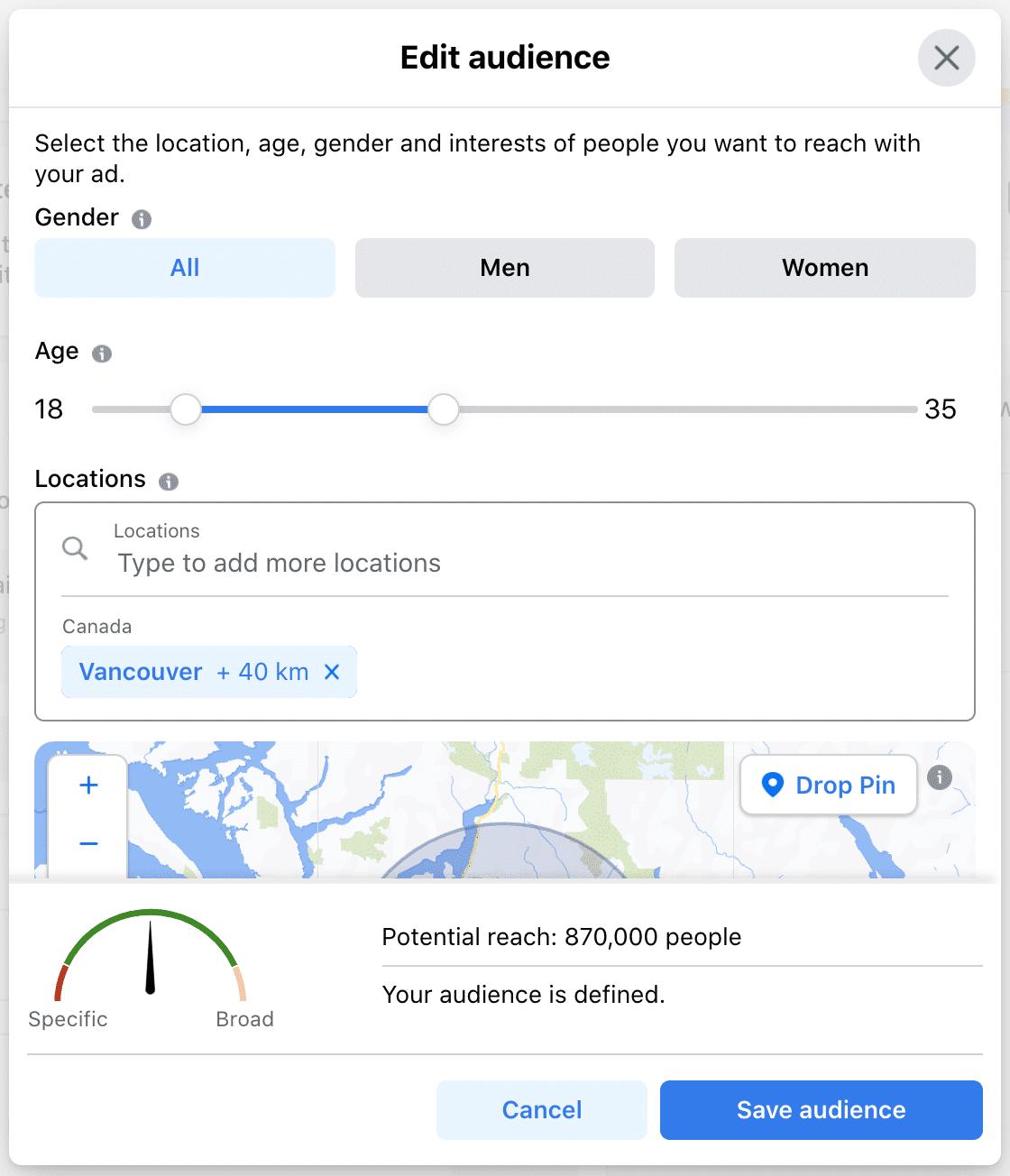 редактировать аудиторию в зависимости от пола, возраста и местоположения
