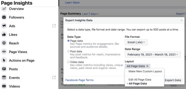 Экспорт данных Insights из Facebook