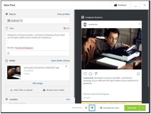 Как публиковать сообщения в Instagram с ПК с помощью Hootsuite, шаг 6: кнопка «Опубликовать сейчас» в Hootsuite (а также «Расписание на потом»)