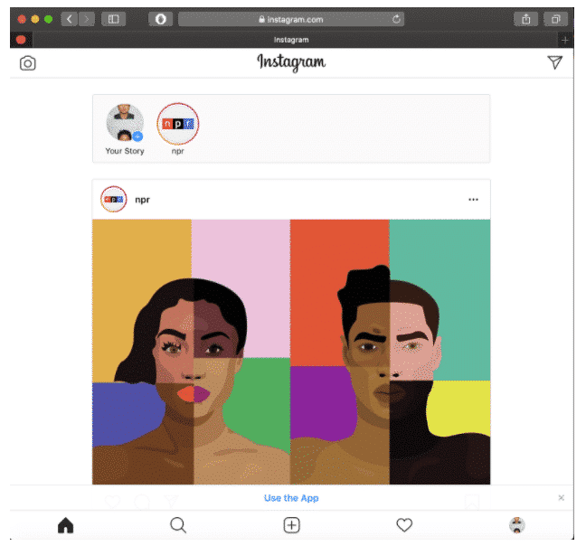 Мобильный интерфейс Instagram на рабочем столе