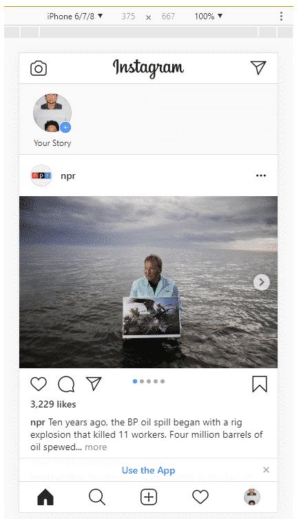 Как размещать сообщения в Instagram с ПК, шаг 6: мобильный интерфейс Instagram на рабочем столе