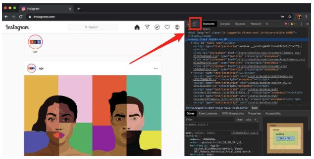 Как разместить сообщение в Instagram с ПК, шаг 4: Кнопка «Мобильный» в окне разработчика Chrome