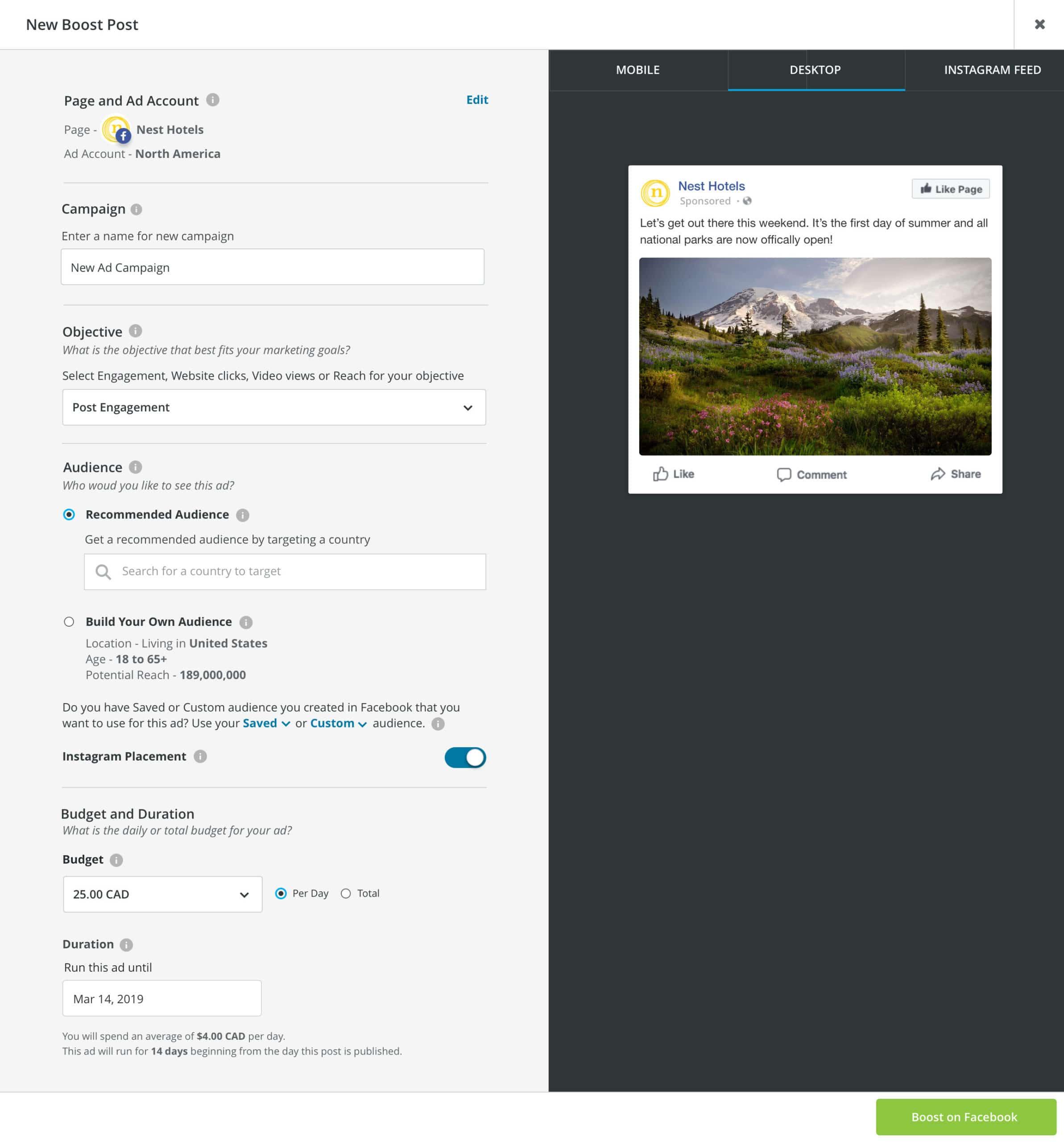 пост на панели инструментов Hootsuite