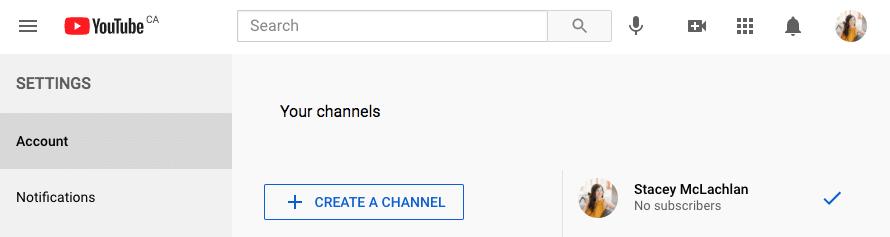 Страница учетной записи YouTube создать канал