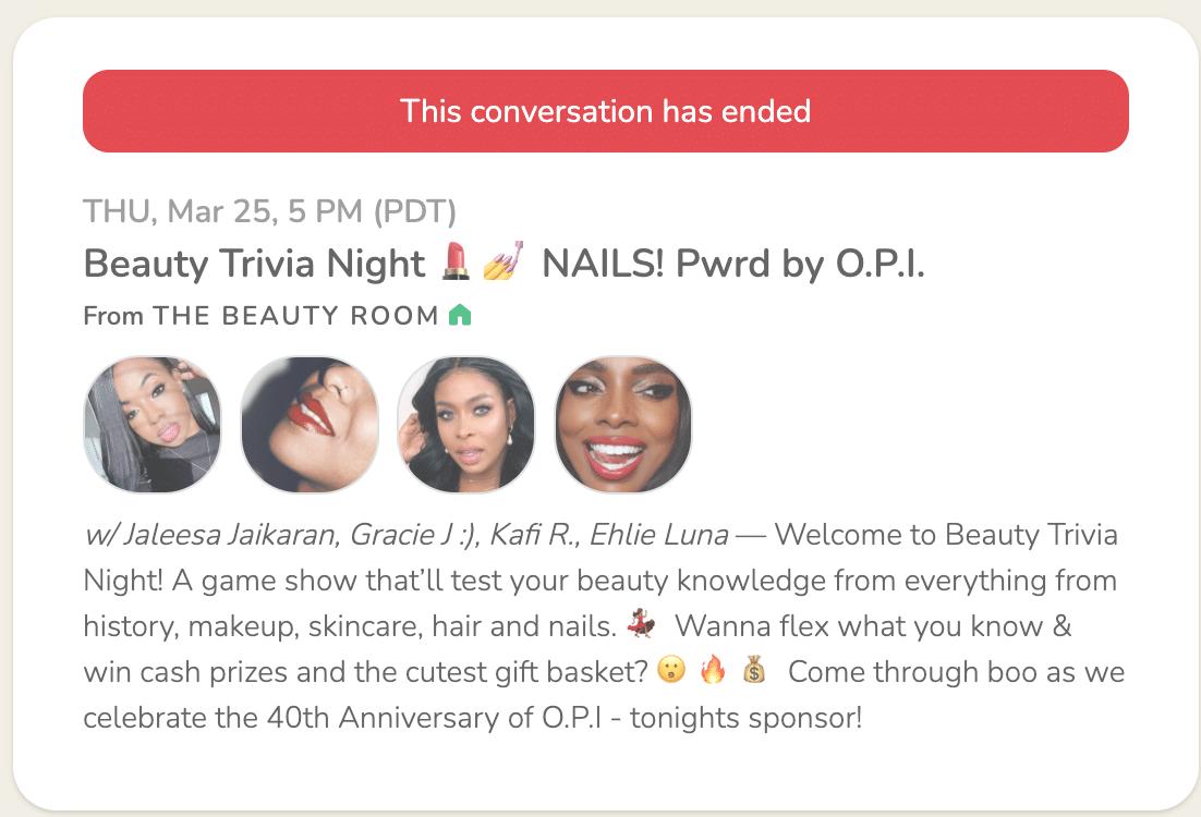 Beauty Trivia Night OPI спонсорство номеров