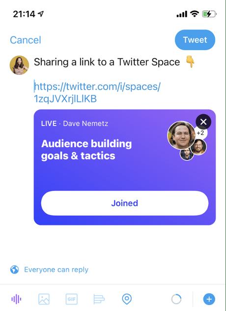 ссылка на Twitter Space через твит
