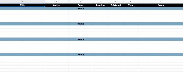 Предварительный просмотр шаблона редакционного календаря