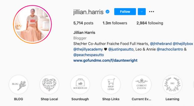 значки выделения Instagram в профиле Джиллиан Харрис